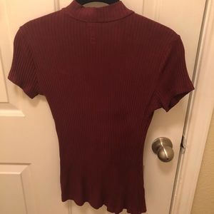 Me to We Tops - Red Cut-out Shirt from Me to We Essentials